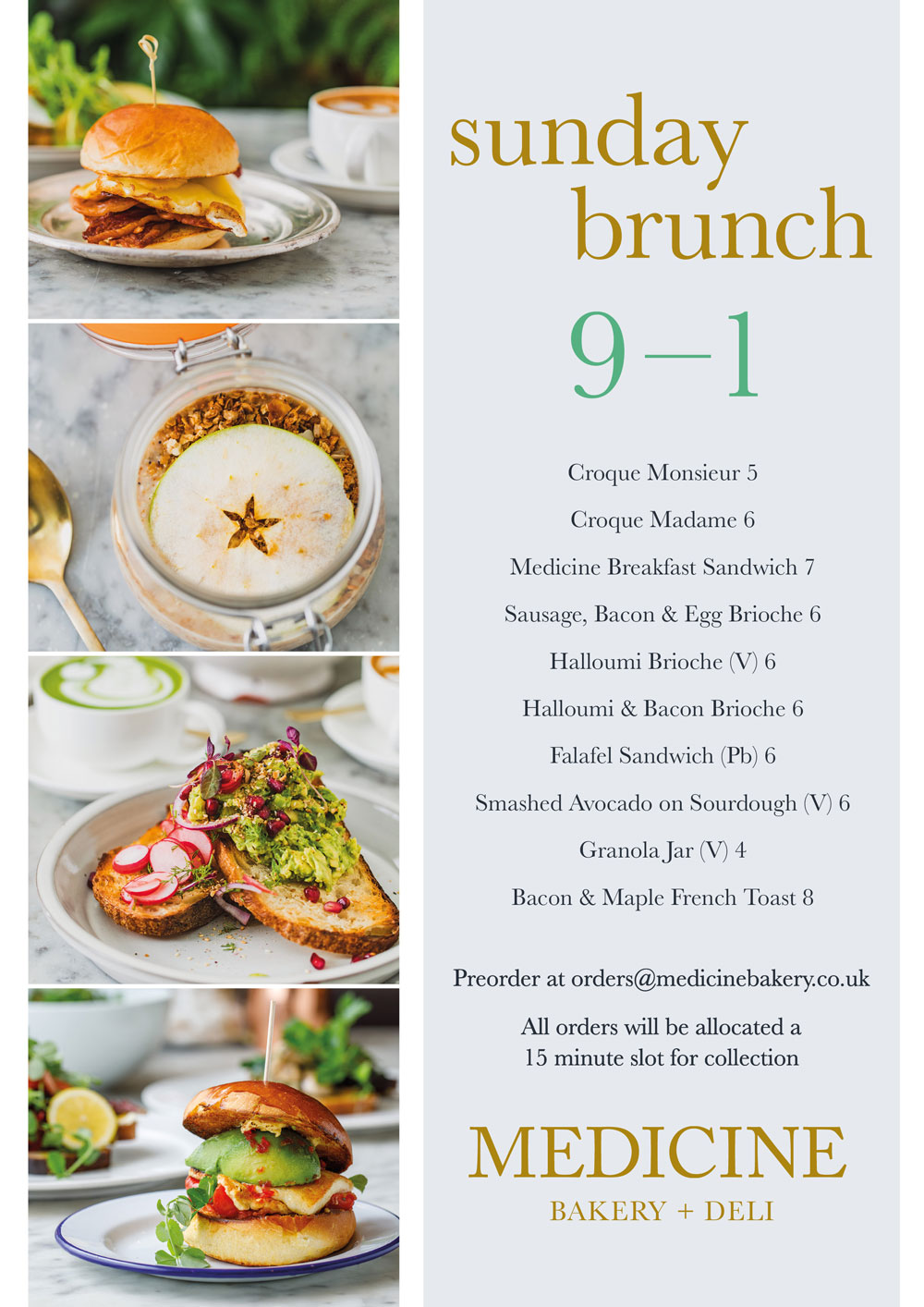 Medicine Sunday Brunch menu